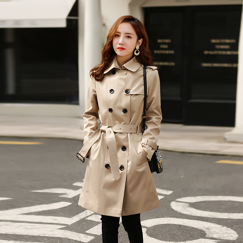 Windbreaker womens middle and long 2020 autumn new small Korean version of home double breasted popular British coat woman B401