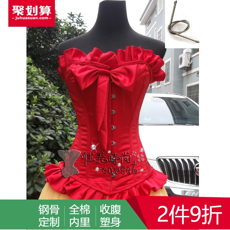 European style retro red Gothic corset corset steel body waistcoat palace thin belly corset