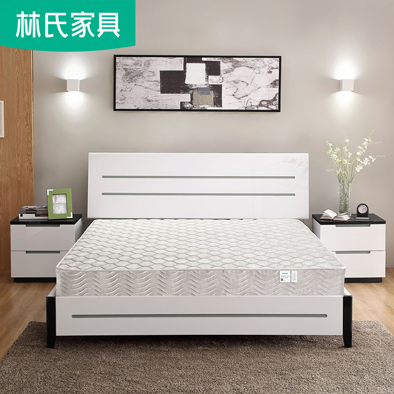 简约板式床1.5米小户型硬板床1.8单人床白色现代卧室家具组合BI1A