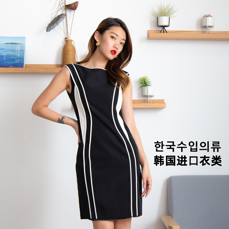Sleeveless Korean imported spring and summer dress 2020 waist closing temperament suspender crew neck fashion girl