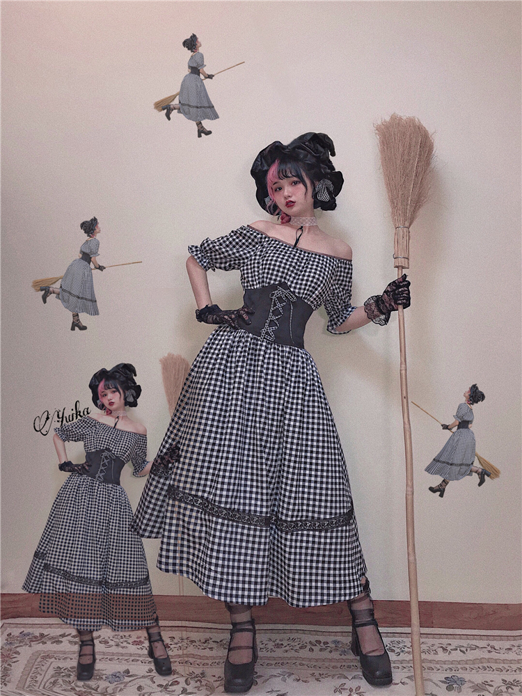 Lucia / day original vintage medieval Plaid waist swing short sleeve dress 2020 NEW
