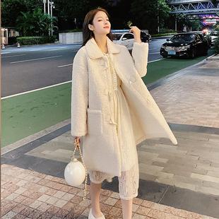 时尚冬季新款颗粒绒毛皮一体长袖中长款宽松显瘦仿羊羔绒外套女