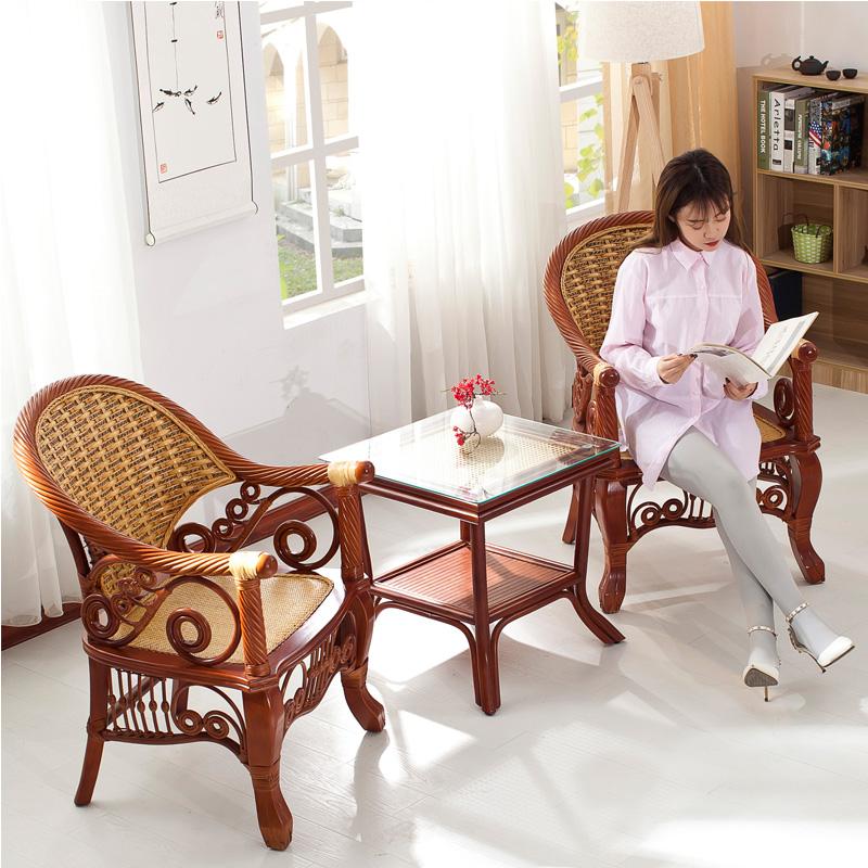 藤椅三件套 真藤编家具 阳台靠背椅客厅中式椅子组合休闲户外奢华