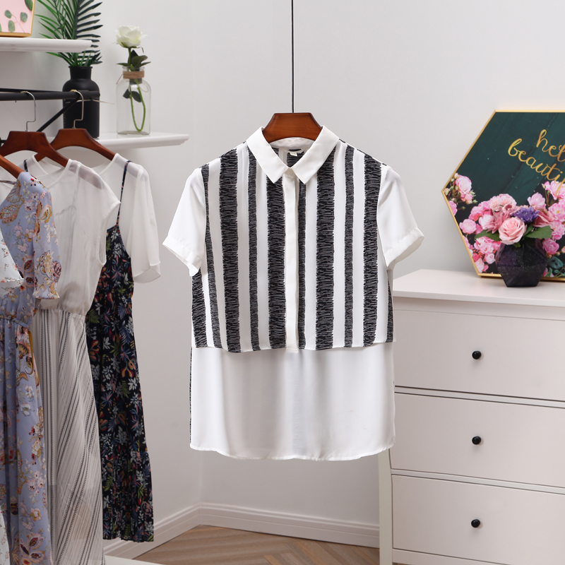 伊系列●品牌折扣女装时尚条纹雪纺衫女夏季2018新款套头短袖上衣