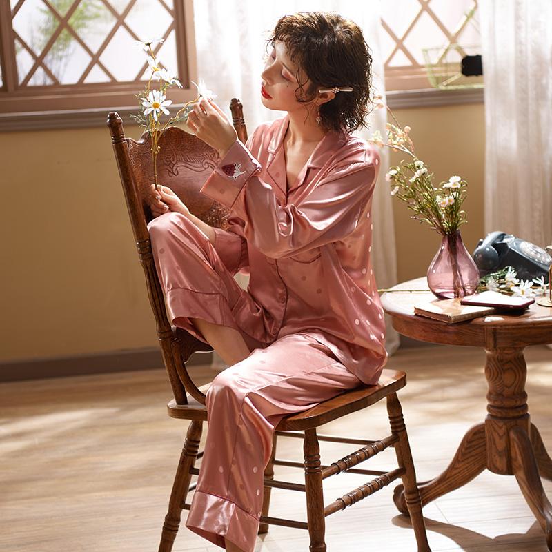 (用70元券)马克公主夏季冰丝韩版长袖可爱睡衣