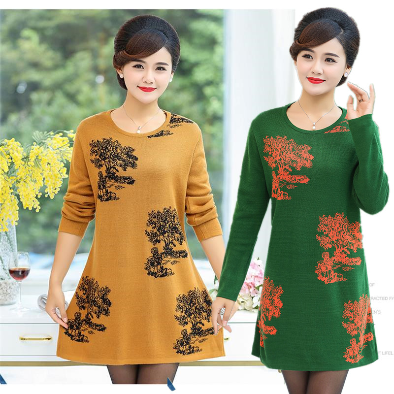Korean middle aged and elderly womens clothes fat mothers thick knitted sweater autumn long middle aged loose bottomed shirt long sleeve