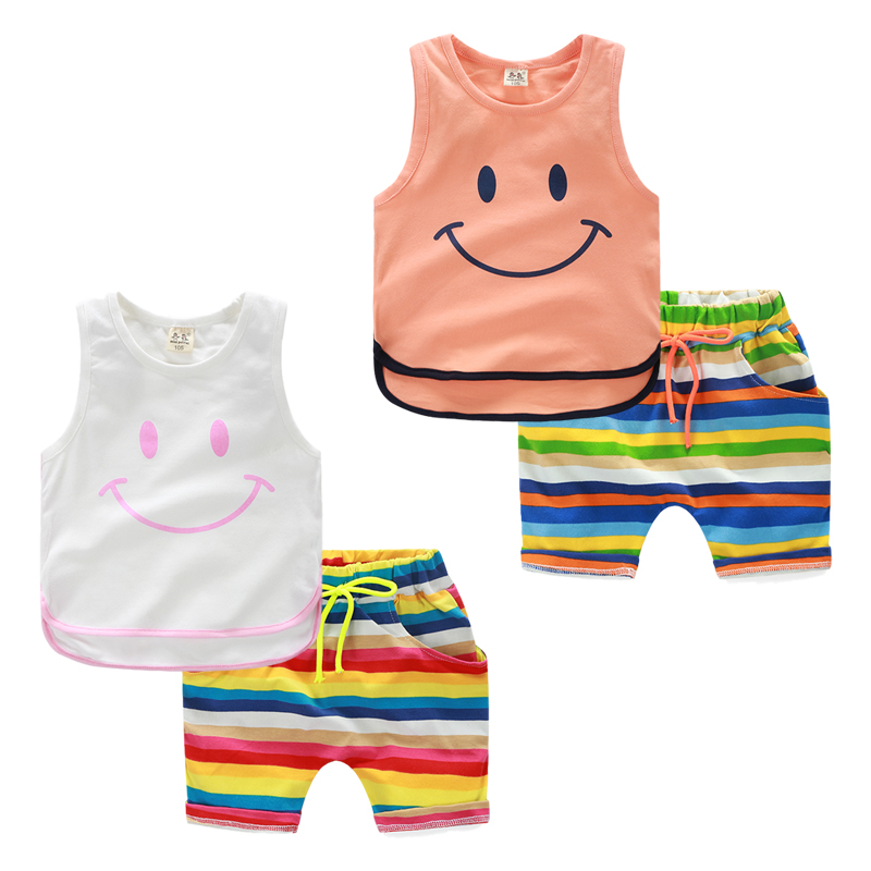 2016 лета новая детская одежда Одежда подходит для корейской версии чистого хлопка из двух частей набор детей мальчика шорты, жилет без рукавов