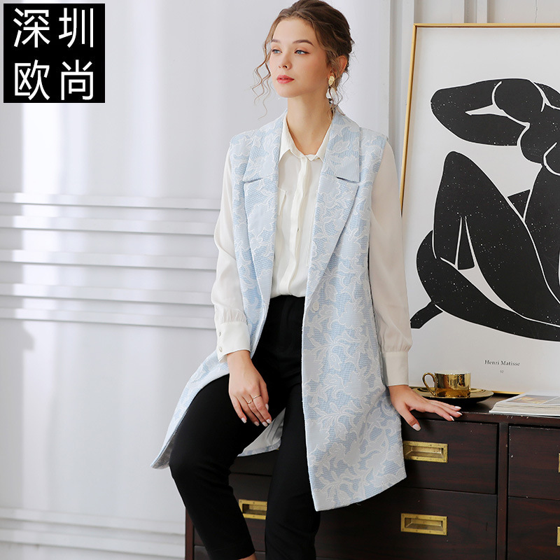 Vest female 2021 spring new style simple and versatile embroidered pattern loose and thin Vest Jacket