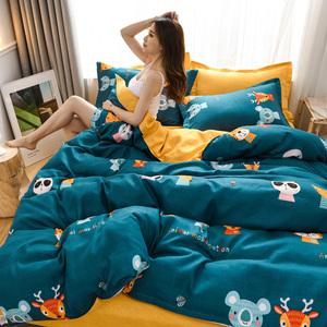 床上四件套全棉纯棉双人床单被套秋冬季简约家纺四件套