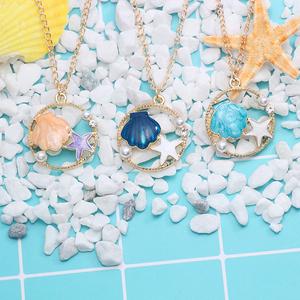 日系可爱卡通项链女童公主儿童简约森系闺蜜学生海星贝壳吊坠饰品