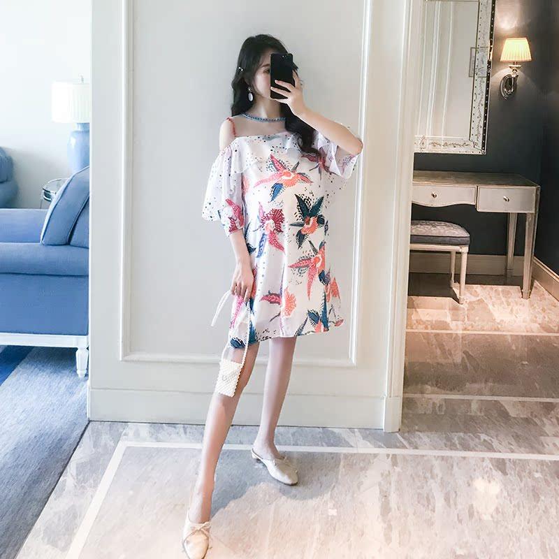 孕妇露肩宽松度假风中长款潮装裙子满160.00元可用32元优惠券