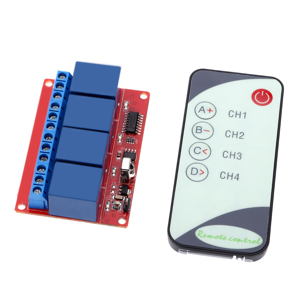 Four way 4 Four Channel 12V IR Remote Control Relay Module,可领取元淘宝优惠券