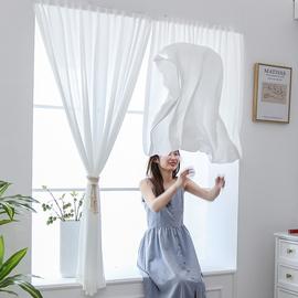 魔术粘贴式纱帘自粘窗帘半遮光白纱免打孔安装飘窗透光不透人小短