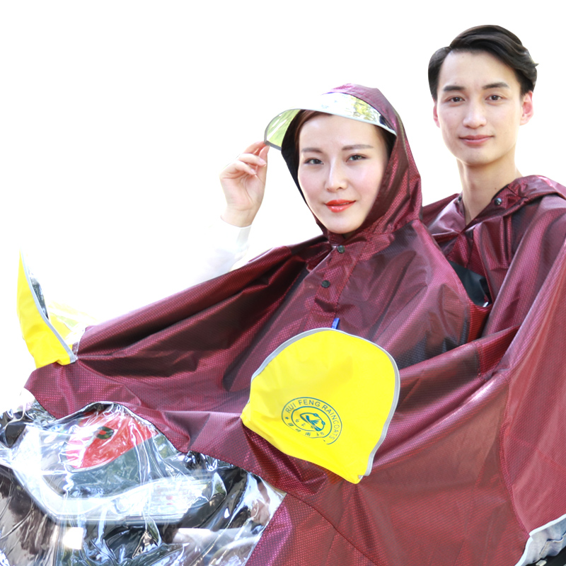 Baiyun Bluebird raincoat battery car double poncho thickened motorcycle mens and womens adult waterproof 2 people