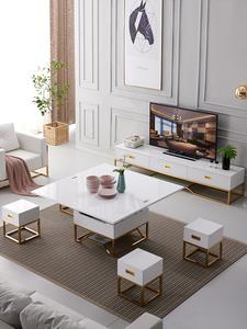 小户型简约客厅钢化玻璃多功能可升降折叠茶几餐桌两用电视柜组合