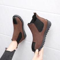 B9688127WX千百度伊伴女鞋冬季黑色素面加绒加厚切尔西靴短筒棉靴