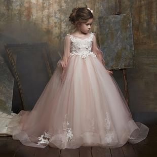兒童生日公主裙蓬蓬紗女童網紅模特走秀晚禮服演出服花童小主持人