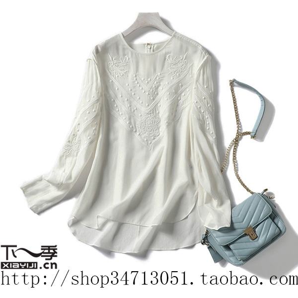 Spring and summer new Xianqi pure beauty three dimensional embroidery embroidered milk white silk long sleeve shirt top female special