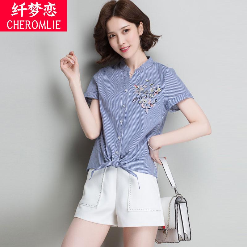 条纹衬衫短袖女新款20118夏装韩版小清新娃娃衫上衣士百搭衬衣潮