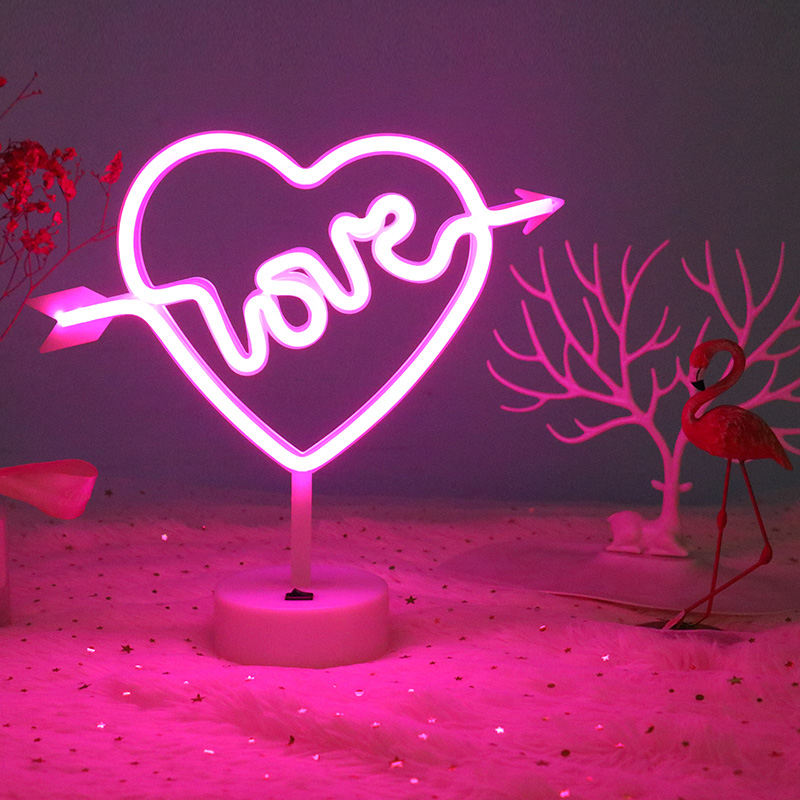 七夕情人节礼物送女生彩灯闪灯串灯惊喜浪漫网红房间布置爱心台灯
