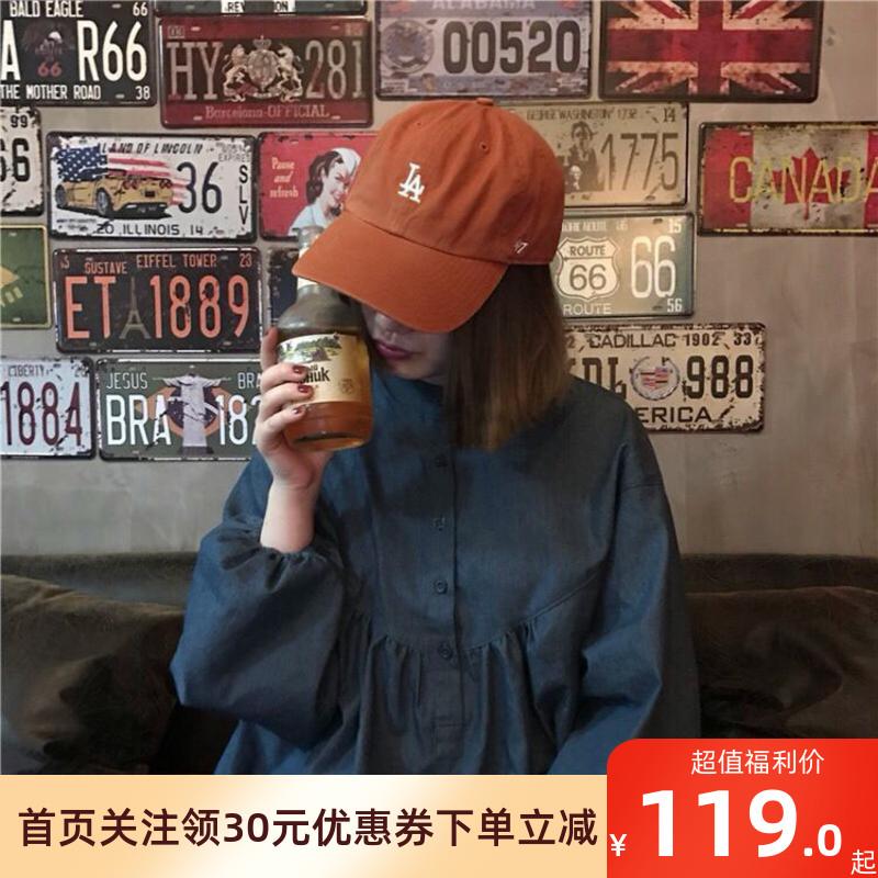 47BRAND棒球帽男女款棕橘色做旧软顶弯檐LA道奇队鸭舌帽子经典