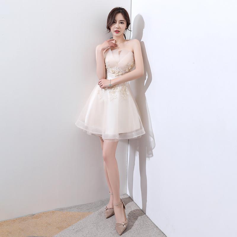 抹胸小�Y服女2018新款夏短款香��色伴娘服洋�b名媛生日派���B衣裙
