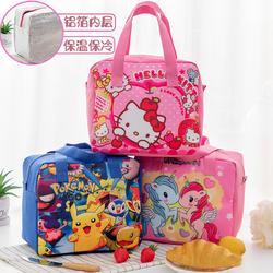 日式可爱卡通保温带饭盒袋子儿童小学生防水大号午餐手提袋便当包