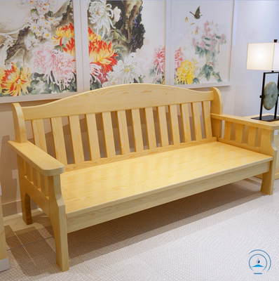 Pastoral solid wood sofa combination three-person living room small apartment wooden sofa simple modern pine specials