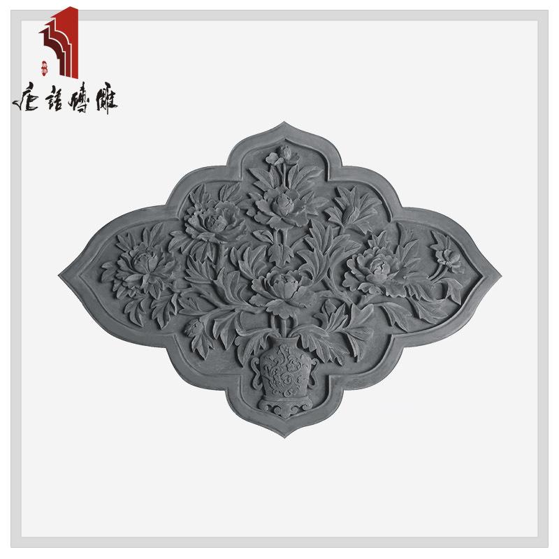 北京唐语砖雕 古建材料 墙壁影壁装饰挂件1.65*1.18m牡丹YX1650-1