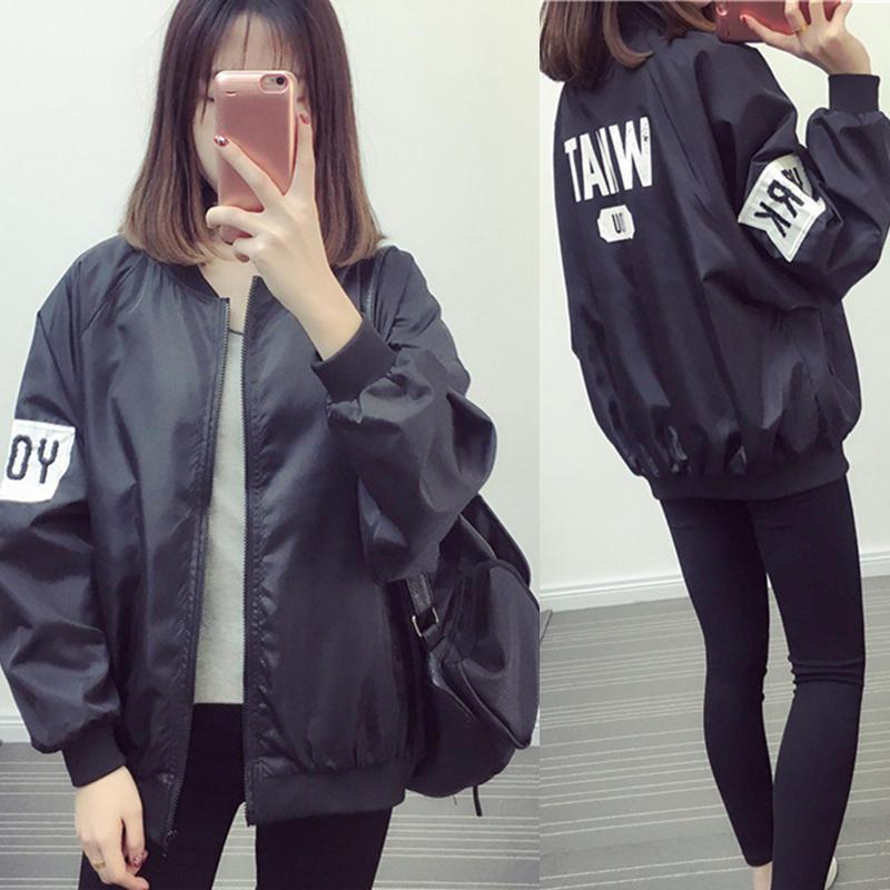 2017春装新款学生外套韩版时尚原宿bf风中长款宽松百搭棒球服女潮