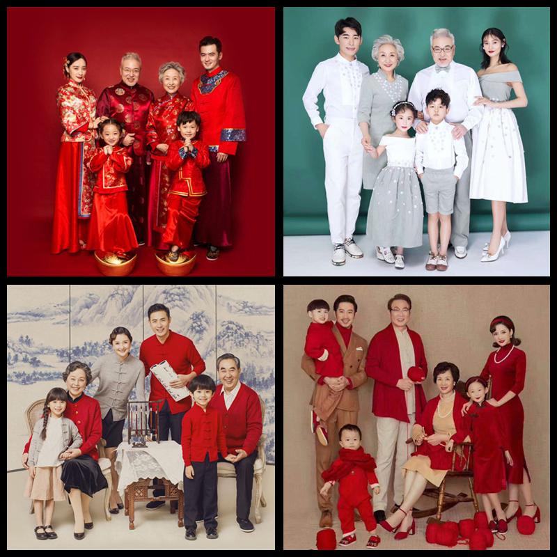 全家福摄影服装儿童摄影亲子服装中国红影楼服饰一家六口拍照服装