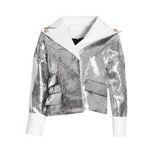 新款 外套上衣女 翻领长袖 夹克衫 街头风撞色银色PU女式 2019秋冬季
