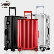 Cartier all-aluminium-magnesium alloy pull-rod box universal wheel metal suitcase male and female password boarding 20-inch suitcase