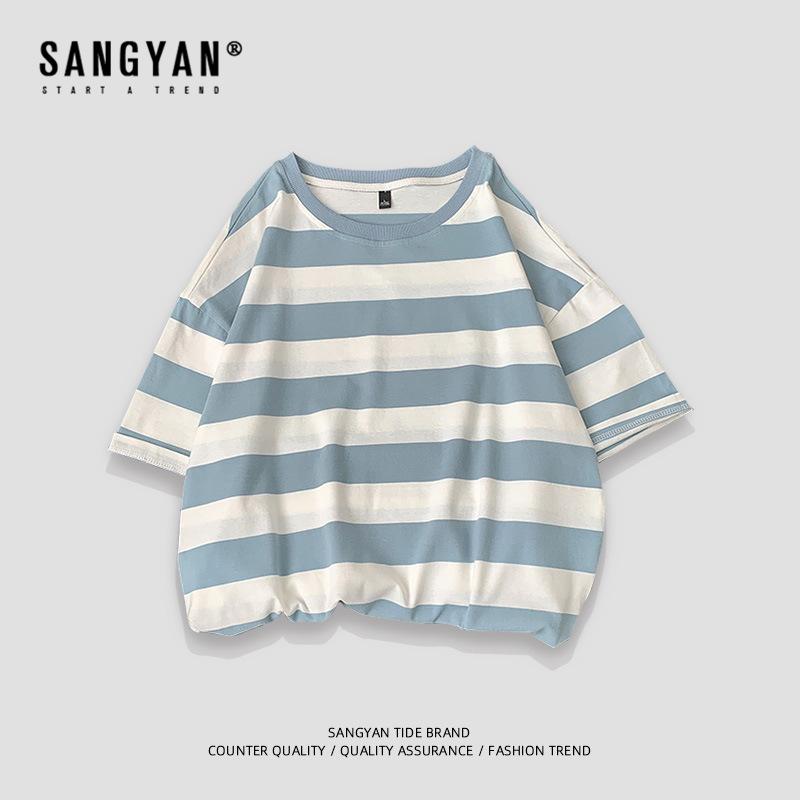 Sangyan summer mens short sleeve T-shirt trend stripe half sleeve T-shirt
