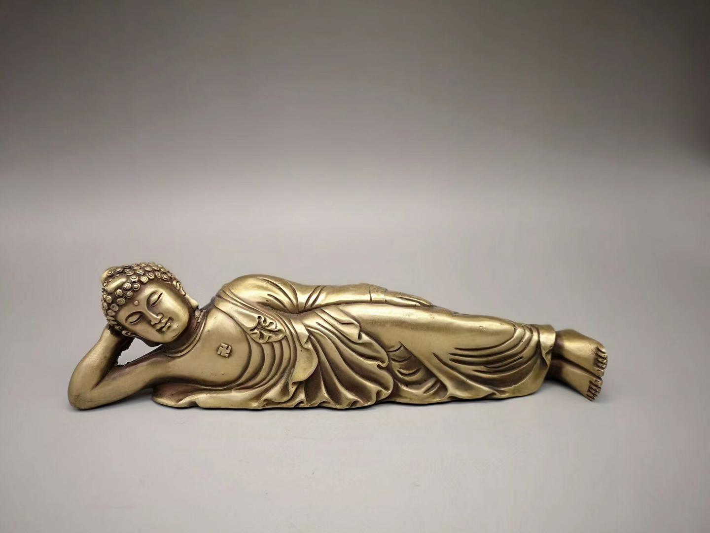 仿古睡佛纯铜卧佛摆件装饰工艺礼品古玩收藏释迦摩尼涅槃佛像