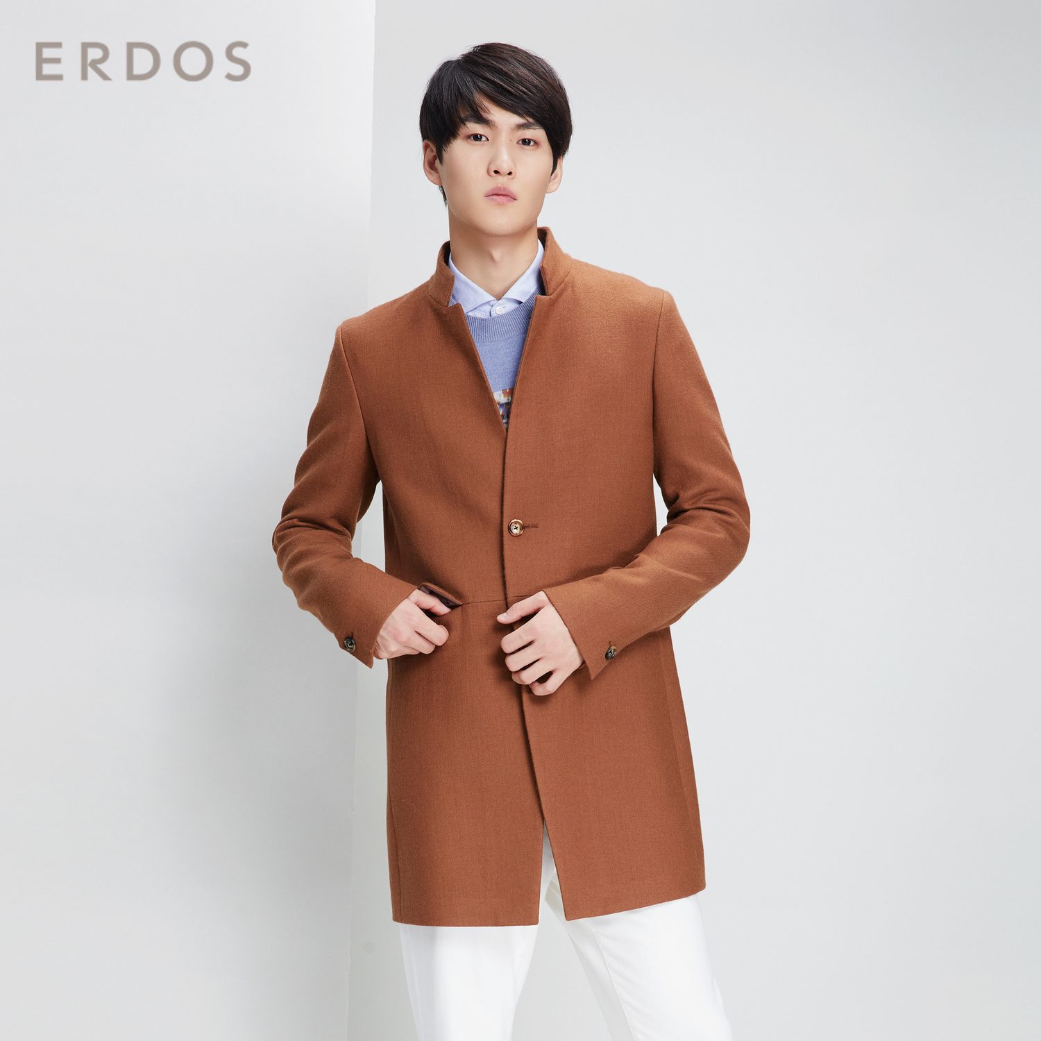 Erdos autumn and winter new business stand collar light cashmere blend mens coat comfortable and warm e195k1005