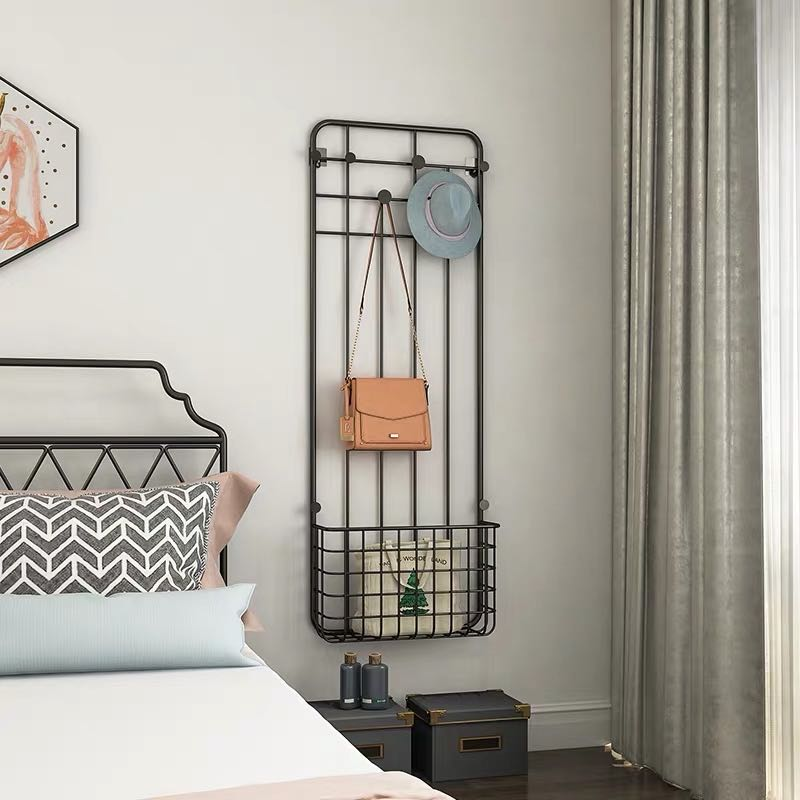 County appropriate furniture wall hole free clothes hat rack small clothes rack bedroom hanging clothes rack hanging bag rack clothes rack wall hanging