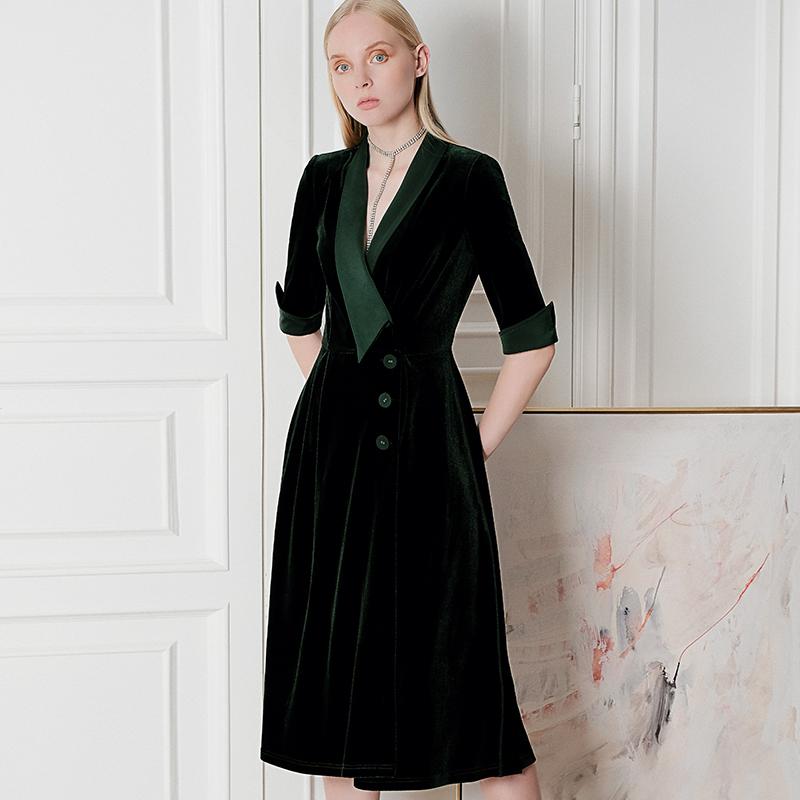 (用10元券)绝色西装领墨绿色金丝绒连衣裙2019秋款高贵洋气质简约ol知性女装
