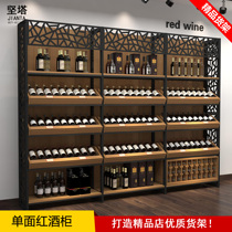 New steel wood Multilayer wine shelf creative red Wine showcase display cabinet Tower wine cabinet single-sided rack