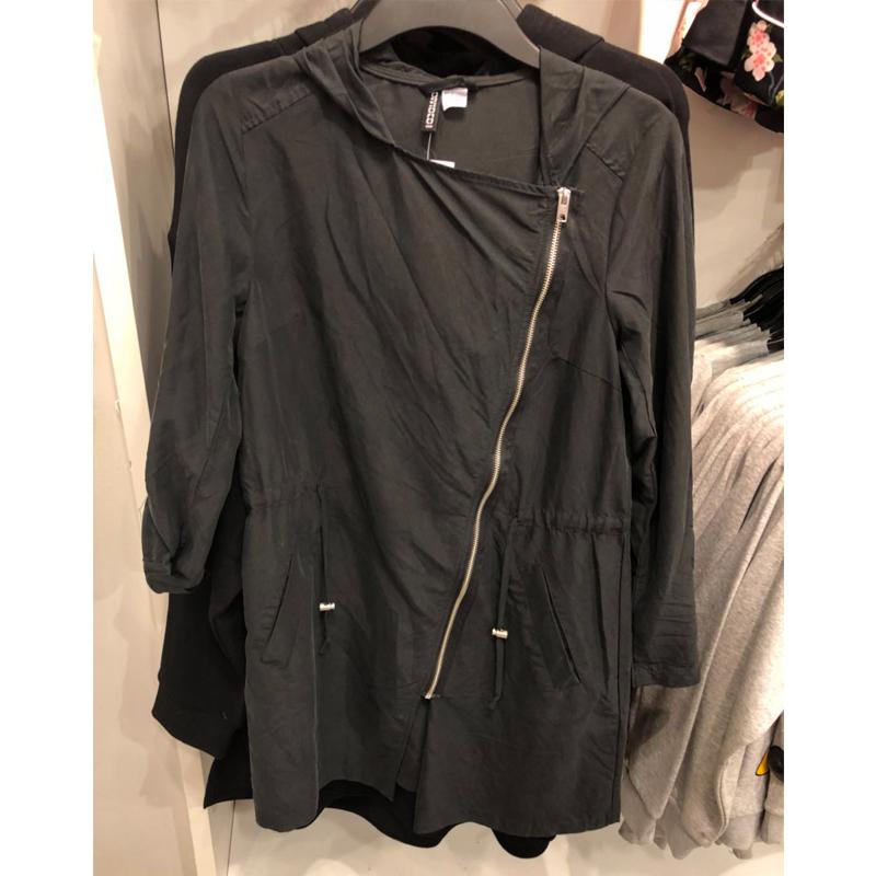 H&M056444国内代购正品女装斜拉链中长薄风衣hm0531058吊牌299元