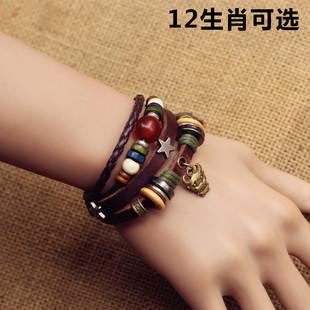 日韩男女复古十二生肖手链学生闺蜜朋友兄弟手绳铆钉个性独特饰品