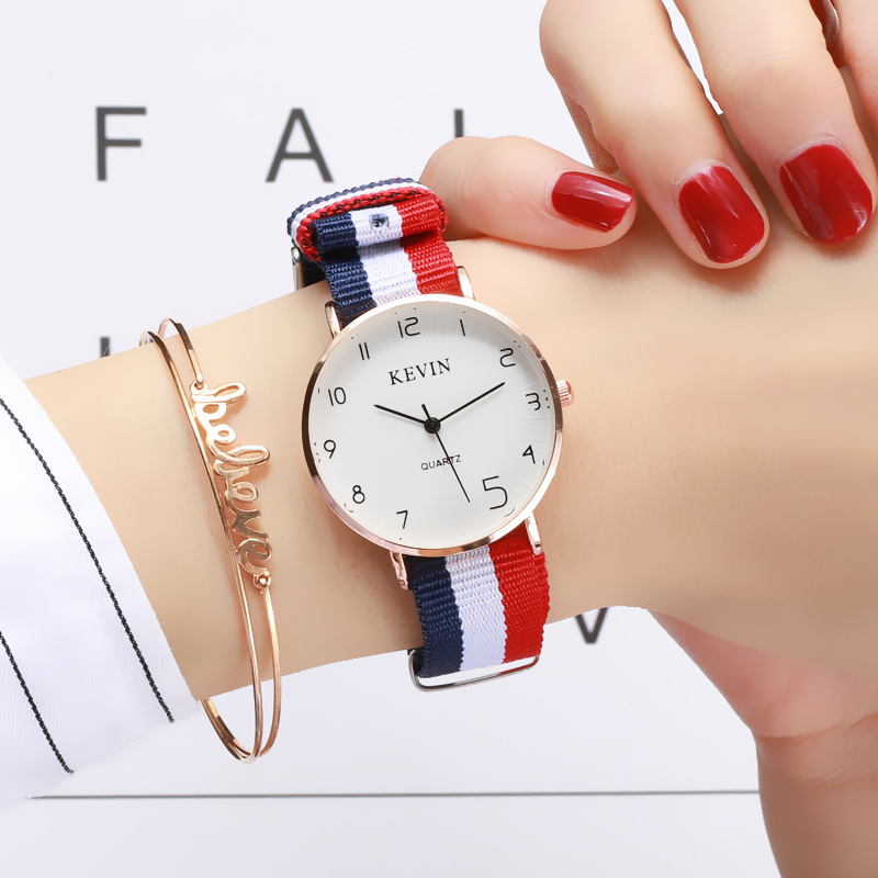 Japanese department girl heart college style retro Korean version minimalism female Department small fresh canvas with female student watch package