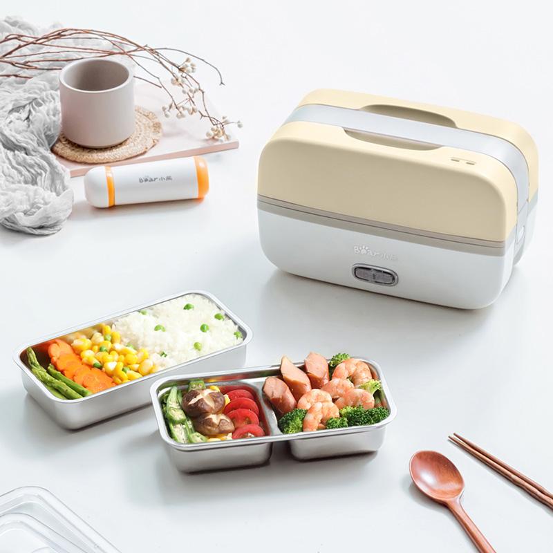 小熊电热饭盒便携式可插电自动加热保温热饭神器上班族蒸煮便当盒