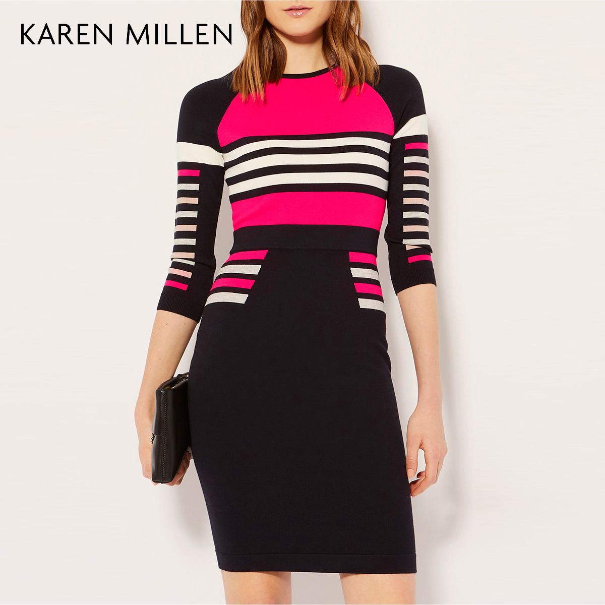 KAREN MILLEN凯伦米莲英伦女装2018春条纹针织连衣裙KM51821703