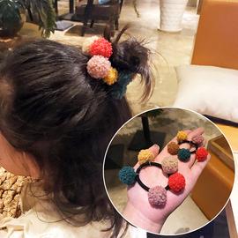 【亲子款】韩国东大门羊毛线彩色大球丸子头绳小发圈儿童发绳公主