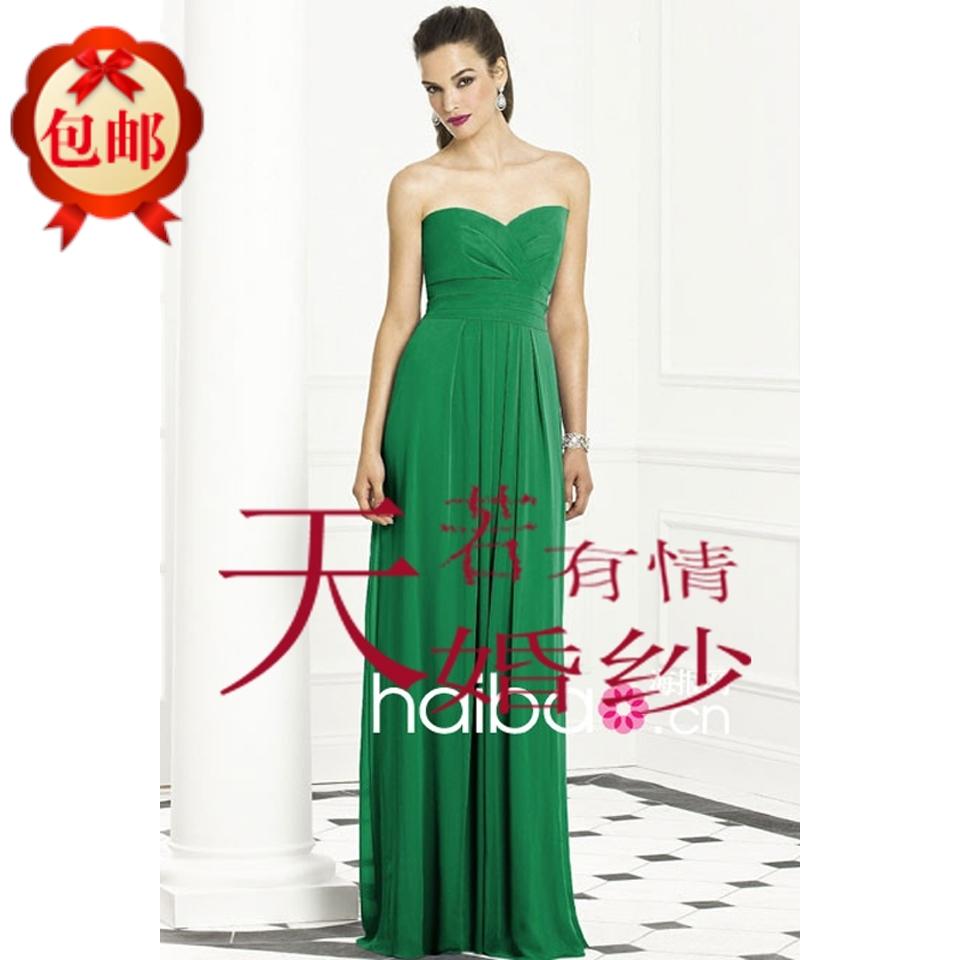 欧美礼服裙抹胸绿色礼服长款新娘女士晚礼服长缎面晚装长裙简约款