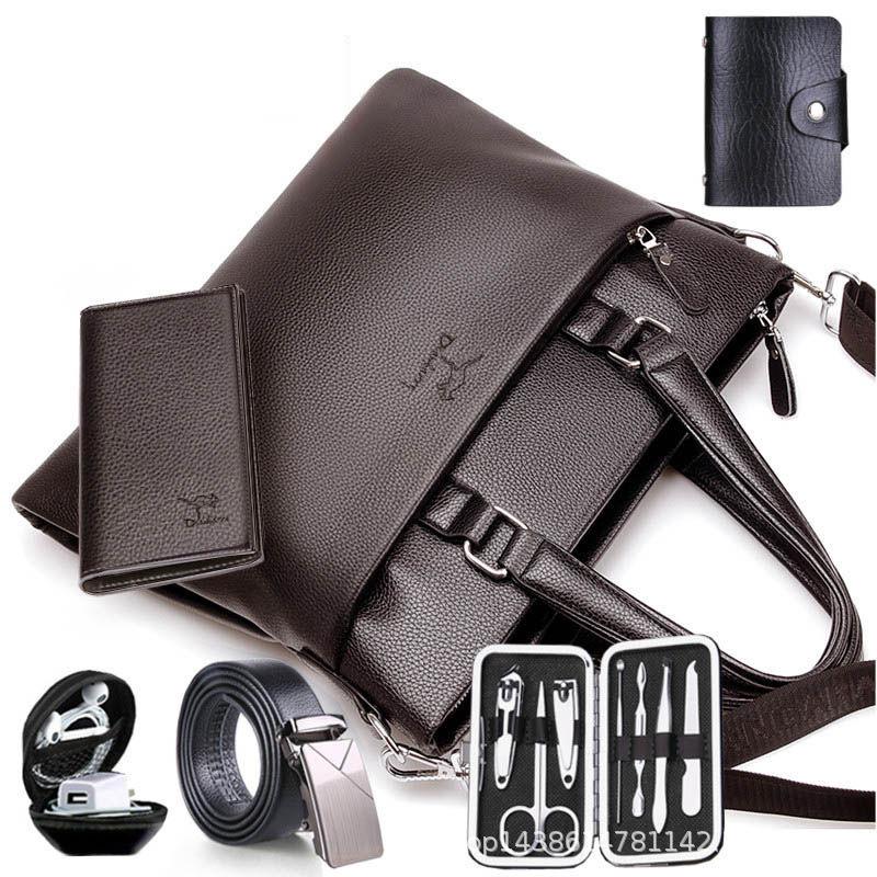 男性用カバンビジネスバッグ横柄ショルダーショルダー男性用カジュアルバッグ、ソフトレザー大容量パソコンバッグ