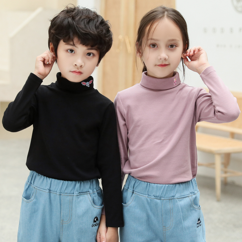 Autumn and winter cotton boys and girls half high neck bottoming shirt, children's clothing, western style, plus velvet thick warm top