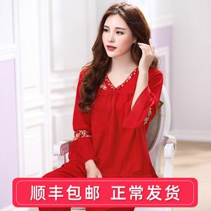 红色睡衣女春秋季纯棉本命年长袖大码妈妈秋冬薄款家居服女士套装