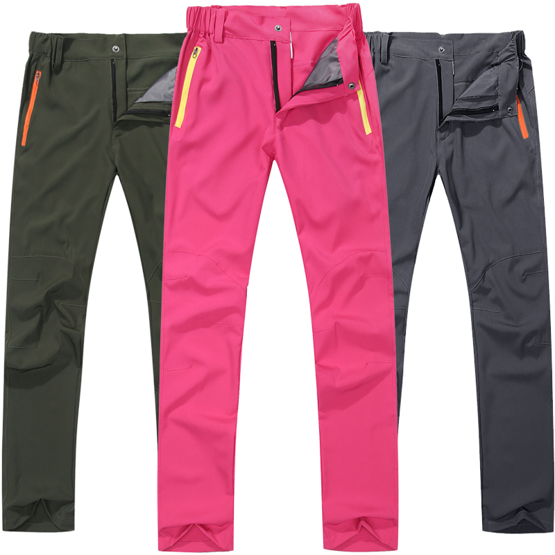 Summer outdoor quick drying pants mens and womens thin style assault pants sunscreen pants breathable elastic quick drying pants solid color mountaineering pants